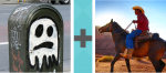 Pictoword Superheroes level 11 - Ghost Boo Trash Horse Cowboy